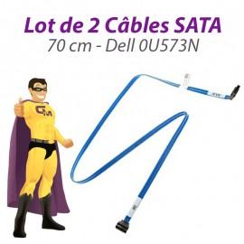Lot 2 Câbles SATA Dell 0U573N U573N PowerEdge T310 70cm Connecteurs Droits Bleu