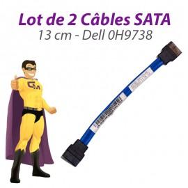 Lot 2 Câbles SATA Dell 0H9738 H9738 OptiPlex 745 755 760 GX620 USFF 13cm Bleu