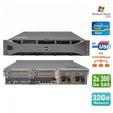 Serveur rackable 2U Dell Poweredge R710 Bi Xeon 36Go 2x300Go SAS Alim redondante