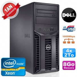 Serveur DELL PowerEdge T110 II NR Xeon Quad Core E3-1220 8Go Ram Ecc 4x 2To
