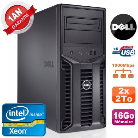 Serveur DELL PowerEdge T110 II NR Xeon Quad Core E3-1220 16Go Ram Ecc 2x 2To