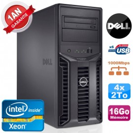 Serveur DELL PowerEdge T110 II NR Xeon Quad Core E3-1220 16Go Ram Ecc 4x 2To