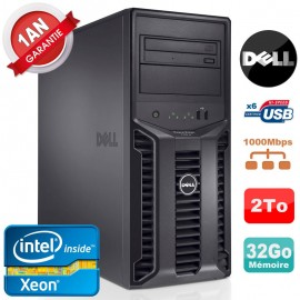 Serveur DELL PowerEdge T110 II NR Xeon Quad Core E3-1220 16Go Ram Ecc 2To
