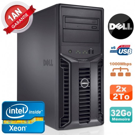 Serveur DELL PowerEdge T110 II NR Xeon Quad Core E3-1220 32Go Ram Ecc 2x 2To