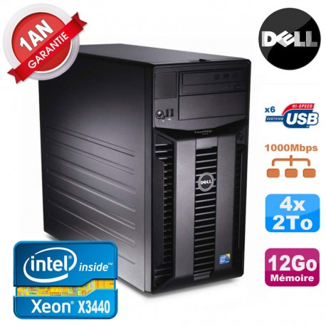 Serveur DELL PowerEdge T310 Xeon Quad Core X3440 12Go Ram Ecc 4x 2To SATA