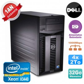 Serveur DELL PowerEdge T310 Xeon X3440 32Go 4x 2To Alimentation Redondante