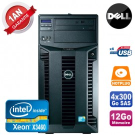 Serveur DELL PowerEdge T310 Xeon Quad Core X3460 12Go Ram Ecc 4x 300Go SAS