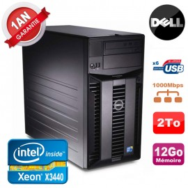 Serveur DELL PowerEdge T310 Xeon Quad Core X3440 12Go Ram Ecc 2To SATA