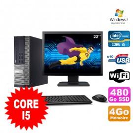 """Lot PC Dell Optiplex 990 SFF I5-2400 3.1GHz 4Go 480Go SSD DVD Wifi W7 + Ecran 22"""""""