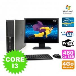 """Lot PC HP Compaq Elite 8100 SFF Core I3-530 4Go 480Go SSD DVD WIFI W7 + Ecran 19"""""""