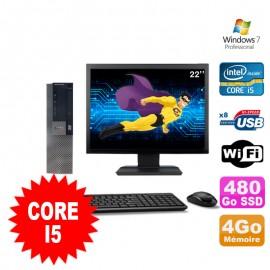"""Lot PC Dell Optiplex 980 SFF I5-650 3.2GHz 4Go 480Go SSD DVD Wifi W7 + Ecran 22"""""""