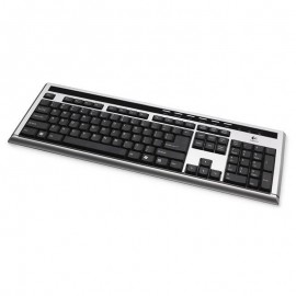 Clavier Azerty Noir Argenté USB Logitech UltraX Y-BL49A PC Keyboard 104 Touches