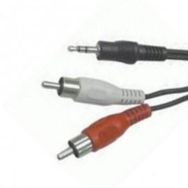 Câble Cordon Adaptateur Externe Audio Jack 3.5mm vers 2x RCA 1m Noir