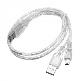 Câble Doubleur USB 2.0 A Mâle vers 1x USB 2.0 A Mâle 1x Mini USB Mâle 1m Argent