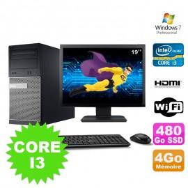"""Lot PC Tour DELL 3010 MT I3-2120 Graveur 4Go 480Go SSD HDMI Wifi W7 + Ecran 19"""""""