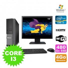"""Lot PC DELL 3010 SFF I3-2120 DVD 4Go 480Go SSD HDMI Wifi W7 + Ecran 19"""""""