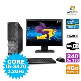 """Lot PC DELL 3010 SFF I5-3470 DVD 4Go 240Go SSD HDMI Wifi W7 + Ecran 22"""""""