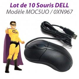Lot 10x Souris Optiques USB Filaires DELL MOC5UO 0XN967 R41108 PC Mouse Noires