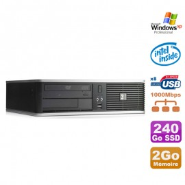 PC HP DC7900 SFF Dual Core E5300 2.6Ghz 2Go Disque 240Go SSD DVD XP Pro