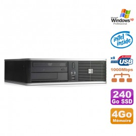 PC HP DC7900 SFF Dual Core E5300 2.6Ghz 4Go Disque 240Go SSD DVD XP Pro