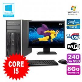 Lot PC Tour HP 8200 Core I5 3.1Ghz 8Go 240Go SSD Graveur WIFI W7 + Ecran 22