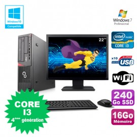 "Lot PC Fujitsu E720 E85+ I3-4130 3.4GHz 16Go 240Go Graveur WIFI W7 + Ecran 22"""