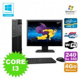 Lot PC Lenovo M91p 7005 SFF Core I3 4Go 240Go SSD Wifi Graveur W7 Pro Ecran 17
