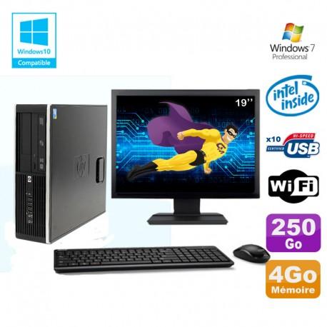 """Lot PC HP Elite 8100 SFF G6950 2,8 GHz 4Go 250Go Wifi Graveur W7 Pro Ecran 19"""""""