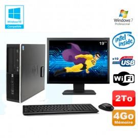 """Lot PC HP Elite 8100 SFF G6950 2,8 GHz 4Go 2000Go Wifi Graveur W7 Pro Ecran 19"""""""