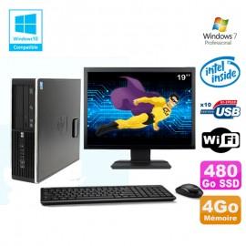 "Lot PC HP 8100 SFF G6950 2,8 GHz 4Go 480Go SSD Wifi Graveur W7 Pro Ecran 19"""