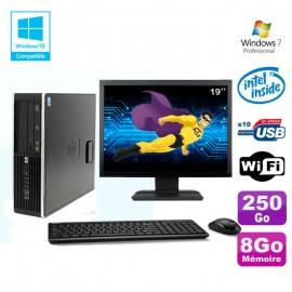 """Lot PC HP Elite 8100 SFF G6950 2,8 GHz 8Go 250Go Wifi Graveur W7 Pro Ecran 19"""""""