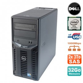Serveur DELL PowerEdge T110 II Xeon Quad Core E3-1220 V2 32Go ECC 2x 3To SAS