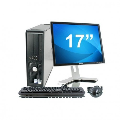 Lot PC DELL Optiplex 755 SFF Intel Celeron 430 1.8Ghz 2Go 2To Win XP + Ecran 17""
