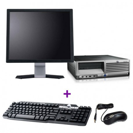Lot PC HP Compaq DC7700p SFF Core 2 Duo E6300 1.8Ghz 2Go 500Go Win 7 + Ecran 17""