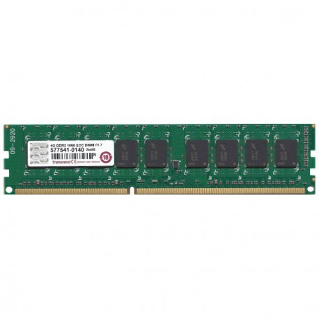 RAM Serveur DDR3-1066 Transcend PC3-8500E 4GB Unbuffered ECC CL7 TS512MLK72V1N