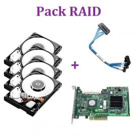 Pack 4 disques 146Go MBA3147RC SAS 15K + Carte PCIe Raid Controller UCS51+ Câble