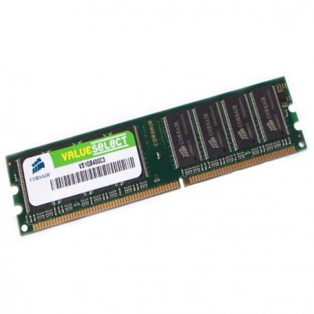 Ram Barrette Mémoire CORSAIR ValueSelect 1Go DDR PC-3200 VS1GB400C3 Unbuffered