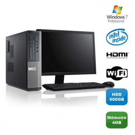 Lot PC DELL Optiplex 390 DT Pentium G630 2.7Ghz 4Go 500Go WIFI W7 Pro + Ecran 19