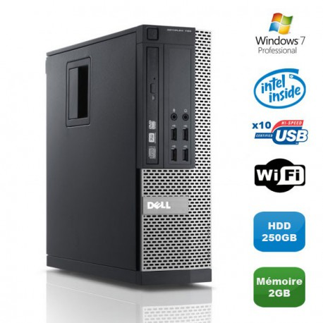 PC DELL Optiplex 790 SFF Intel Pentium G840 2.8Ghz 2Go DDR3 250Go WIFI Win 7 Pro