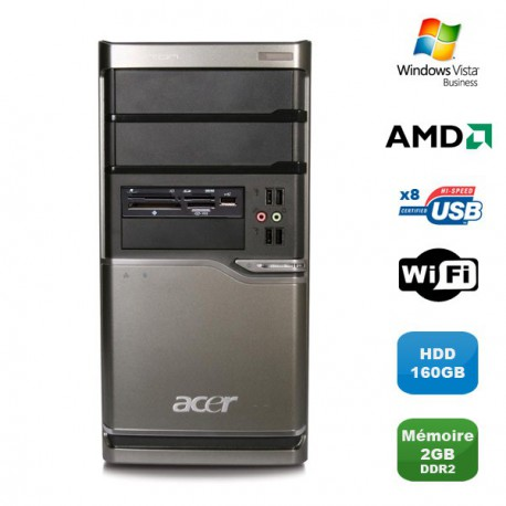 PC ACER Veriton M420 Tour Athlon X2 4850B 2.5Ghz 2Go DDR2 160Go WIFI Win Vista