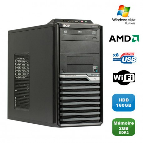 PC ACER Veriton M421G Tour Athlon X2 4850B 2.5Ghz 2Go DDR2 160Go WIFI Win Vista