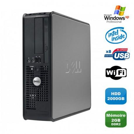 PC DELL Optiplex 760 SFF Pentium Dual Core E2200 2.2Ghz 2Go 2000Go WIFI XP Pro