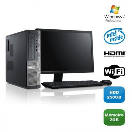 Lot PC DELL Optiplex 390 DT G630 2.7Ghz 2Go 250Go Graveur WIFI W7 Pro + Ecran 19