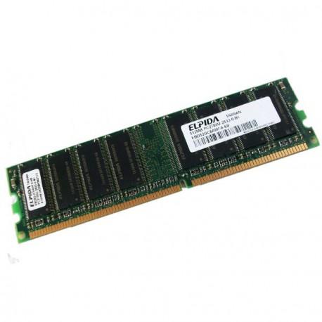 Ram Barrette Memoire ELPIDA 512Mo DDR1 PC-2700U 333Mhz EBD52UC8AMFA-6B CL2.5