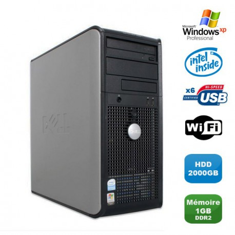 PC DELL Optiplex 320 MT Intel Celeron 3.06Ghz 1Go DDR2 2To WIFI Windows XP Pro