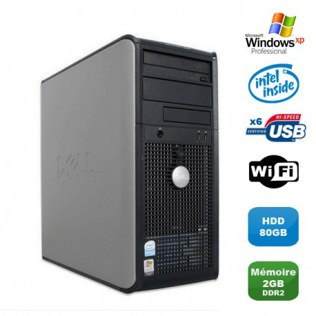 PC DELL Optiplex 320 MT Intel Celeron 3.06Ghz 2Go DDR2 80Go WIFI Windows XP Pro