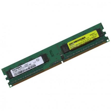 Ram Barrette Memoire ELPIDA EBE51UD8AGWA-5C-E 512Mo DDR2 PC-4200U 533Mhz CL4
