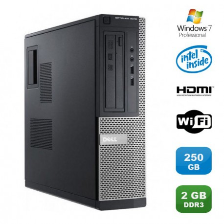 PC DELL Optiplex 3010 DT Intel G640 2.8Ghz 2Go 250Go Graveur WIFI HDMI Win 7 Pro