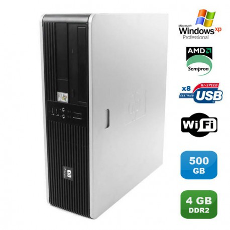 PC HP Compaq DC5750 SFF AMD Sempron 2GHz 4Go DDR2 500Go Wifi Windows XP Pro