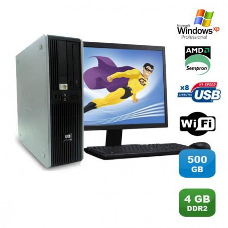 "Lot PC HP Compaq DC5750 SFF AMD Sempron 2Ghz 4Go 500Go WIFI XP Pro + Ecran 19"""